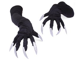 Long sLeeve hand gLoves online shopping - Long nails gloves Halloween hollowen cosplay props suits hand sleeves paw performance cuffs women men