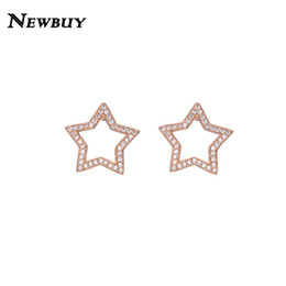 Star White Roses Australia - NEWBUY 2019 Trendy Rose Gold White Gold Color Stud Earrings For Women Girl Fashion Star Cubic Zirconia Earring Jewelry Wholesale
