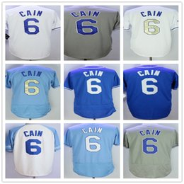 Wholesale 6 Lorenzo Cain Men Baseball Jersey Cream White Grey Baby Blue Gold Champion Cool Base Stitched Home Away Jerseys