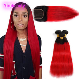 Ombre hair prOducts online shopping - Brazilian Virgin Hair Straight Human Hair Extensions Bundles With X4 Lace Closure B red Straight Hair Products inch B red
