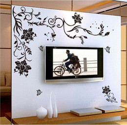 $enCountryForm.capitalKeyWord Australia - Black Flower vine butterfly vinyl wall stickers home decor rooms living sofa wallpaper Design wall art decals house decoration