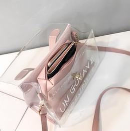 $enCountryForm.capitalKeyWord Australia - 2 Bag 2019 Fashion New Handbag Quality Pvc Transparent Women Bag Printed Letter Big Tote Bags Portable Shoulder Crossbody Bag