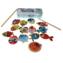 China 16pcs Fish Game Magnetic Fishing Pole Rod & Fish Marine Organisms Model Set Kid Pretend Play Toy Educational supplier magnetic rod toys suppliers