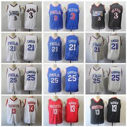 55cd32f1f Philadelphia Youth Ben 25 Simmons Jersey Basketball 76ers Allen 3 Iverson  Joel 21 Embiid Rockets James 13 Harden Kids Jerseys Blue White
