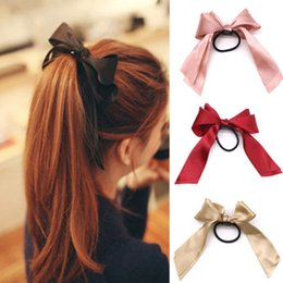$enCountryForm.capitalKeyWord Australia - Women Rubber Bands Tiara Satin Ribbon Hair Bow Elastic Hair Band Rope Scrunchies Ponytail Holder Gum for Girls Accessories
