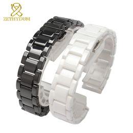 $enCountryForm.capitalKeyWord NZ - Ceramic Watch Bracelet 14 15 16 17 18 19 20 21mm Watchband White Black Strap Wristwatches Band Not Fade Water Resistant T190620