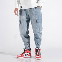 jeans big blue NZ - Fashion Streetwear Men Jeans Loose Fit Light Blue Big Pocket Denim Cargo Pants Embroidery Designer Hip Hop Jeans Men Harem Pants