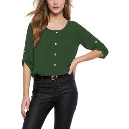 Custom kimono online shopping - 2018 Custom Colorwomen Blouse Paragraph Collar Folds Button Sleeve Loose Shirt Women Blusa Feminina Vestidos Hk21 MX190712