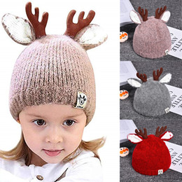 free crochet baby beanie NZ - 2019 NEW Cute Reindeer Antlers Baby Beanie Soft Warm Crochet Knitted Hat for Toddler Girls Boys 5 Colors