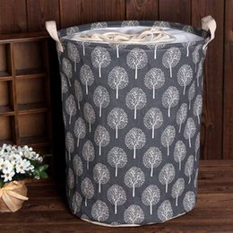 $enCountryForm.capitalKeyWord Australia - Large Canvas Bucket Drawstring Beam Port Dirty Clothes Laundry Basket Foldable Toys Storage Organizer Household Sundries
