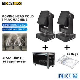 moving head case Australia - 2PCS Flight Case Packing with 10 Bags Powder Moving Head Cold Spark Machine Spray 5m DMX Wedding Machine for Party Decoration
