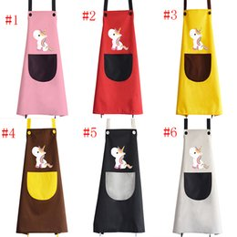 Personal Cartoons Australia - Unicorn Printed Aprons Advertising Fabric Waterproof Lovely Creative Home Aprons Customized Cartoon Personal Aprons Free Shipping A190408