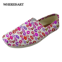 Printed Canvas Shoes For Ladies Australia - WHEREISART 3D Sexy Lips Printed Ladies Casual Shoes Flats Women Spring Summer Light Breathable Walking Shoes for Female Canvas