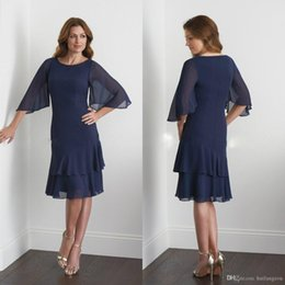 b2de53626a8 Tea Length Dresses Wedding Guest Australia - Tea Length Navy Mother of the  Bride Dresses with