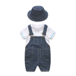 White Boy T Shirts UK - Newborn Baby Clothes Cotton Boys Suit Sets white t-shirt + Striped Hat + Overalls Outfits Set Casual Boy Clothes