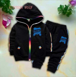 $enCountryForm.capitalKeyWord Australia - CHMP NO2 Kids Cardigan Coats And Pants 2Pcs sets 1-4T Children Sports Sets Rainbow Zipper Long Sleeve Colorful Striped Summer Suit