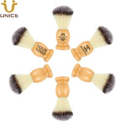 Wholesale MOQ 50 pcs OEM Customized LOGO Beard Shaving Brush Barber Razor Beard Brush Wooden Handle & Nylon Bristle Mens Facial Cleaning Brushes