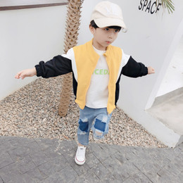 spring jackets for boys NZ - Contrast Jacket Boys Short Coat Children's Jacket for Spring Autumn Kids Clothes Zipper Clothing Simple Sweatshirt Outwear Tide
