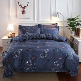 white dog cartoons NZ - King Size Bedding Set Dog Cartoon Cute Navy Fashionable Duvet Cover Pet Queen Full Twin Single Comfortable Bed Cover with Pillowcase