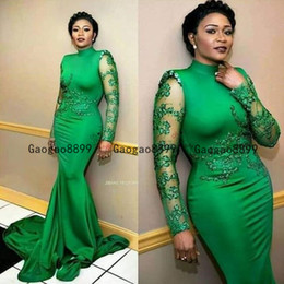 green fall dresses NZ - 2020 green Stunning Mermaid evening formal dresses with lace appliques high neck long sheer sleeves custom made african prom dresses