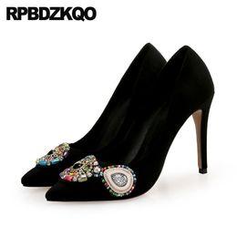 $enCountryForm.capitalKeyWord Australia - rhinestone evening low heels beaded wedding shoes pumps diamond 8cm 12 44 high pointed toe big size crystal 10 42 scarpin women