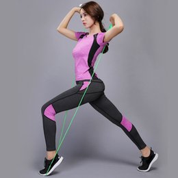 lady fitness wear NZ - Women Yoga Shirts New Fashion Yoga Set Outfit Ladies Fitness Shirts Sports Pants Leggings Womens Workout Clothing Active Wear #906314