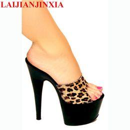 Heels Inches Australia - LAIJIANJINXIA 7 Inch High Heel Slippers NEW Women Dress Sexy Shoes 17cm Crystal Shoes Exotic Thin Heels Women's Shoes G-089