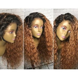 Ombre Full Lace Wigs Australia - 1B 27 Color Honey Blonde Lace Front Wig Brazilian Curly Remy Ombre Full Lace Human Hair Wigs Pre Plucked Bleached Knots