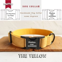 engraved pet id tags Canada - MUTTCO engraved metal buckle dog collar THE YELLOW personalized dog ID tag collar 5 sizes nameplate anti-lost pet supply UDC077H