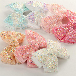 "kids rhinestone hair clips NZ - 12 Pcs Lot 4""Plain Rhinestone Hair Bows With Black Clips For Kids Girls Boutique Crystal Bows Hairgrips Hair Accessories 6 Colors"