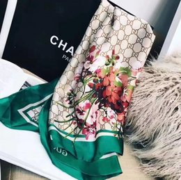 2019 luxury scarf brand famous designer letter pattern lady gift scarf high quality 100% silk long scarf size 180x90cm on Sale
