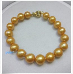 $enCountryForm.capitalKeyWord Australia - 2019 14K YELLOW GOLD CLASP 10-9 MM WHITE SOUTH SEA NATURAL PEARL BRACELET 7.5-8 INCH