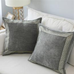 $enCountryForm.capitalKeyWord Australia - Velvet Grey Blue Cushion Cover Embroidered 45x45 60x60cm Home Decorative Pillows For Sofa Bed Soft Throw Pillow Case Funda Cojin