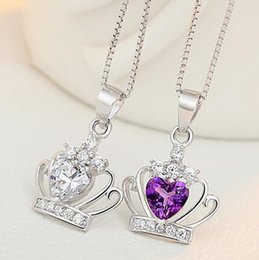Wholesale Rhinestone Crown Pendant Designer Necklace Wedding Jewelry Crystal Pendant Necklace Iced Out Pendants Diamond Luxury Necklaces