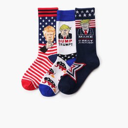 $enCountryForm.capitalKeyWord Australia - hot Trump 2020 Mid stockings Make American Great Again USA Flag men socks President Unisex Funny print Sports Socks T2B5013
