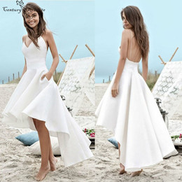 Chinese  Hi-Lo Sexy Beach Wedding Dresses With Pockets V-Neck Spaghetti Straps Backless 2019 Simple Bridal Gowns Robe De Mariee Cheap manufacturers