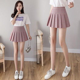 girls pleated skirts NZ - Girls plaid short dress high waist pleated tennis skirt uniform underwear shorts tennis badminton skirt