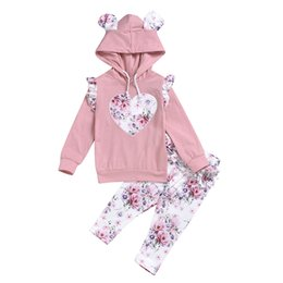 pink floral hoodie Australia - Kids Baby Girls Clothes Cute floral Heart-shaped hoodie Tops Long Pants Ruffles Long Sleeve pink Kid Rabbit ears Clothing set