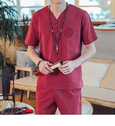 suit chinese male 2019 - Men Chinese style summer linen Set Spring Suit Clothes Tracksuits Male Sweatshirts Tshirt Track Suits Trousers Plus Size