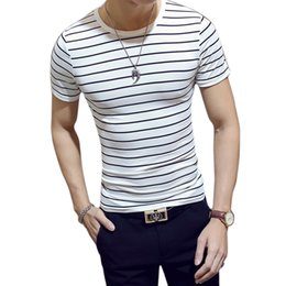 fashion men slim fit t shirt Australia - 2018 Men T shirt Fashion Cotton O-Neck Short-sleeved Man Tops Tee Slim Fit Black and White Striped T-SHIRTS M-XL Size