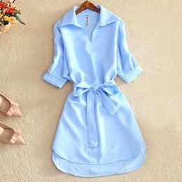 Wholesale night shirts for women online – design Shirts Women Summer Casual Dress Fashion Office Lady Solid Red Chiffon Dresses For Women Sashes Tunic Ladies