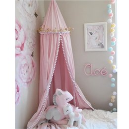 princess kids beds UK - Kids Bedroom Princess Lace Bedding Round Dome Bed Canopy Deco Bed nets Princess tent shooting props tassel pendant Beding net