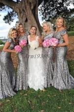short gown bridesmaid sleeve NZ - Sparkly Silver Sequin Mermaid Bridesmaid Dresses Long Short Sleeve Wedding Guest Gowns Plus Size Bridesmaid Dress for Women