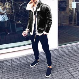 Wholesale mens leather parkas resale online – 2019 Mens Lamb cashmere Leather Jacket Coat Parka Real Fur Mens Clothing Long Plush Thick Over Winter Large Size Jackets Men