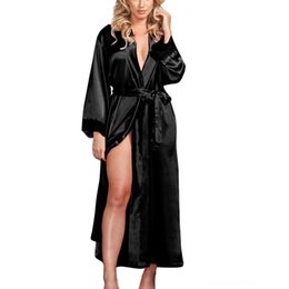kimono underwear sleepwear UK - Sleepwear Women bathrobe Sexy Long Silk Kimono Dressing Gown Women's Underwear Underwear Babydoll Lace Lingerie Bath Robe camisola de dormir