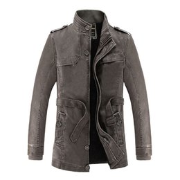 Cotton Trench Australia - New Brand Men's PU Leather Jacket Thicken Winter Waterproof Man Fur Lining Cotton Trench Coats Windbreakers