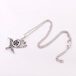 $enCountryForm.capitalKeyWord NZ - ZH18 New arrival Drop shipping Raven Pentacle Pendant Dark Moon Morrigan Crow Magic Pendant wheat link leather rope chain Necklace