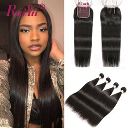 straight indian weave human hair 2019 - 5X5 Lace Closure With Bundles Brazilian Straight Hair Weave Bundles With Closure Peruvian Malaysian Indian Remy Human Ha