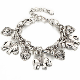 $enCountryForm.capitalKeyWord NZ - Silver Gold 2 Colors Elephant Animal Charm Bracelet for Women Men Lover Heart Link Bracelet Bangle Anklet Best Gifts Fashion Jewelry