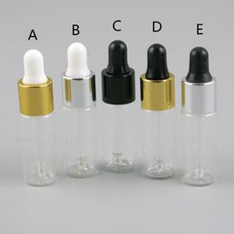 EssEntial oils vials online shopping - 500pcs ml cc Clear Glass Dropper Bottles Vials With Black Gold Cap Essential Oil Perfume e liquid Travel Refillable Bottle
